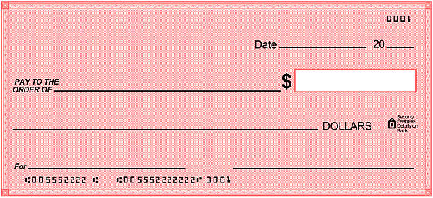Blank check on Red paper, unique design. Fake numbers stock photo