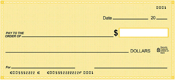 Blank check on yellow paper, unique design. Fake numbers stock photo