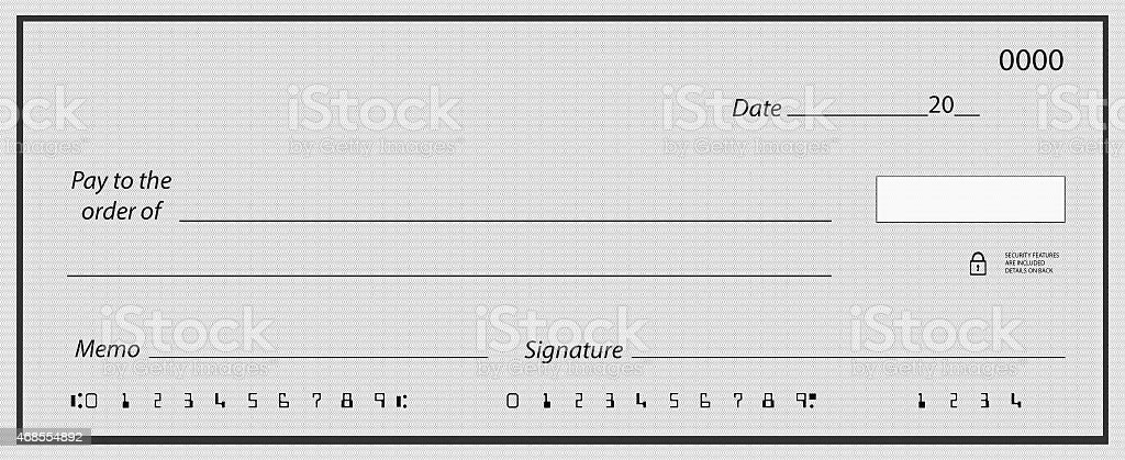 Blank check with false numbers stock photo