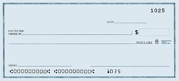 blank check with false numbers - blank check stock photos and pictures
