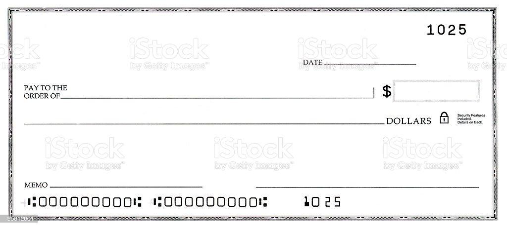 Blank Check con False cifre - foto stock