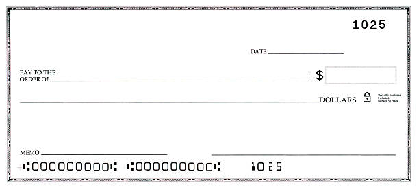 blank check with false numbers - imitation stock photos and pictures