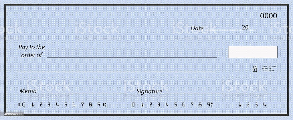 Blank cheque with fake numbers stock photo