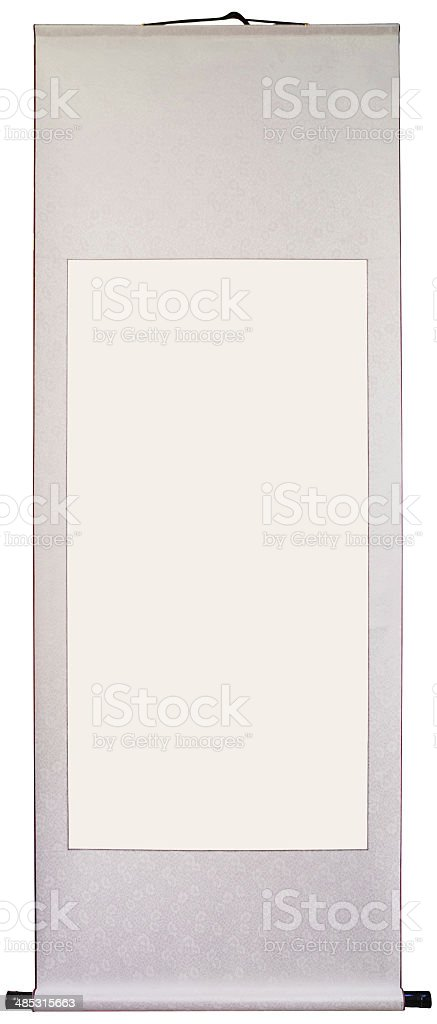 Blank China painting and calligraphy scrolls stock photo