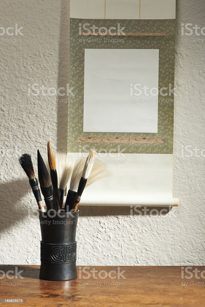 Blank Chinese Scroll Painting with Brushes for Advertising Sign stock photo