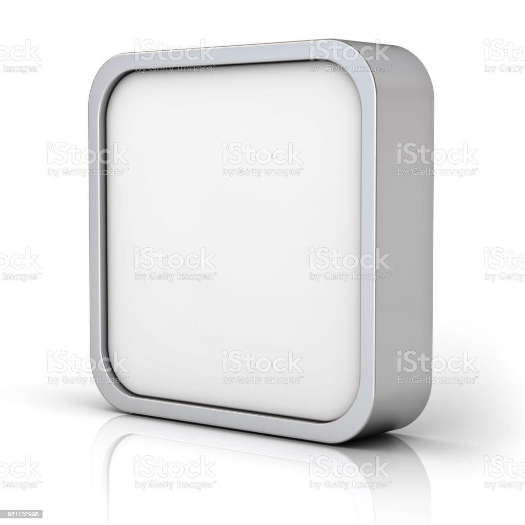 Moldura quadrada em branco cromo ou botão 3d - foto de acervo