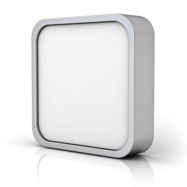 Blank chrome square frame or 3d button stock photo