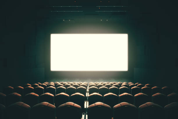 Blank cinema screen toning stock photo