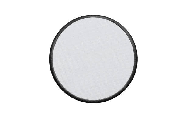 blank circle logo patch on white background - badge logo stock photos and pictures