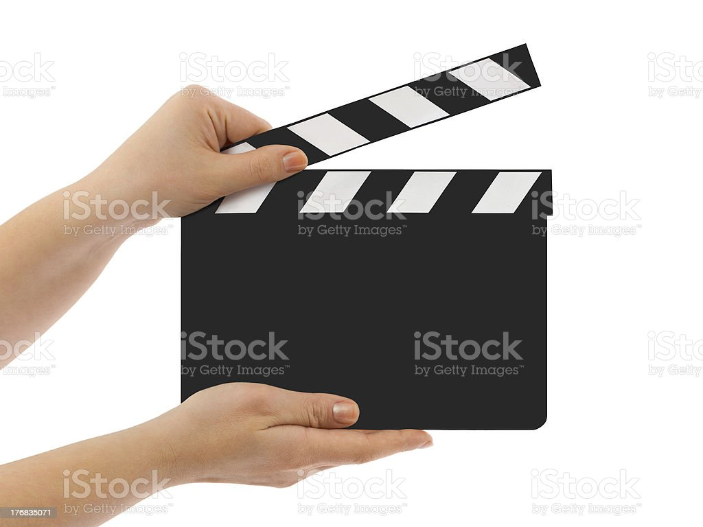 Blank clapboard in hands stock photo