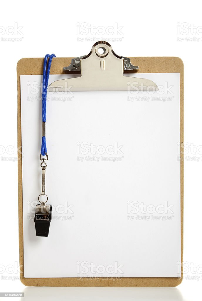 Blank Clipboard and Coaches whistle stock photo