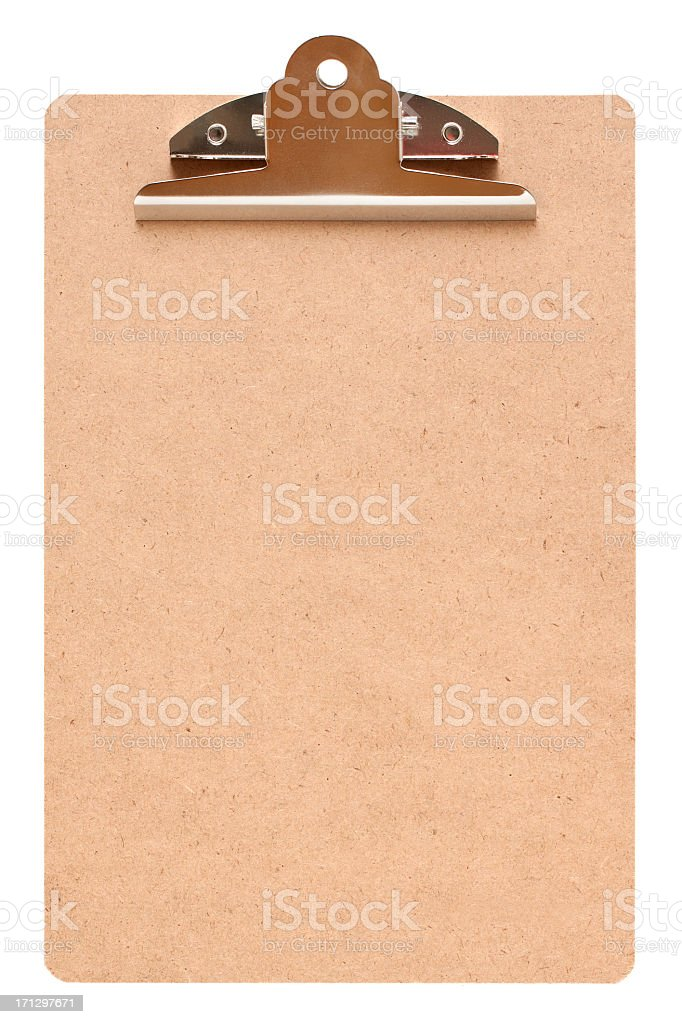 Blank clipboard (Clipping path!) isolated on white background royalty-free stock photo