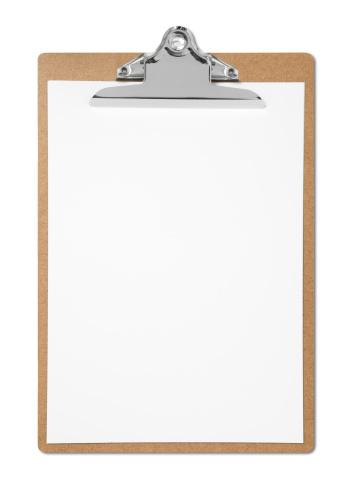 Blank Clipboard on white.