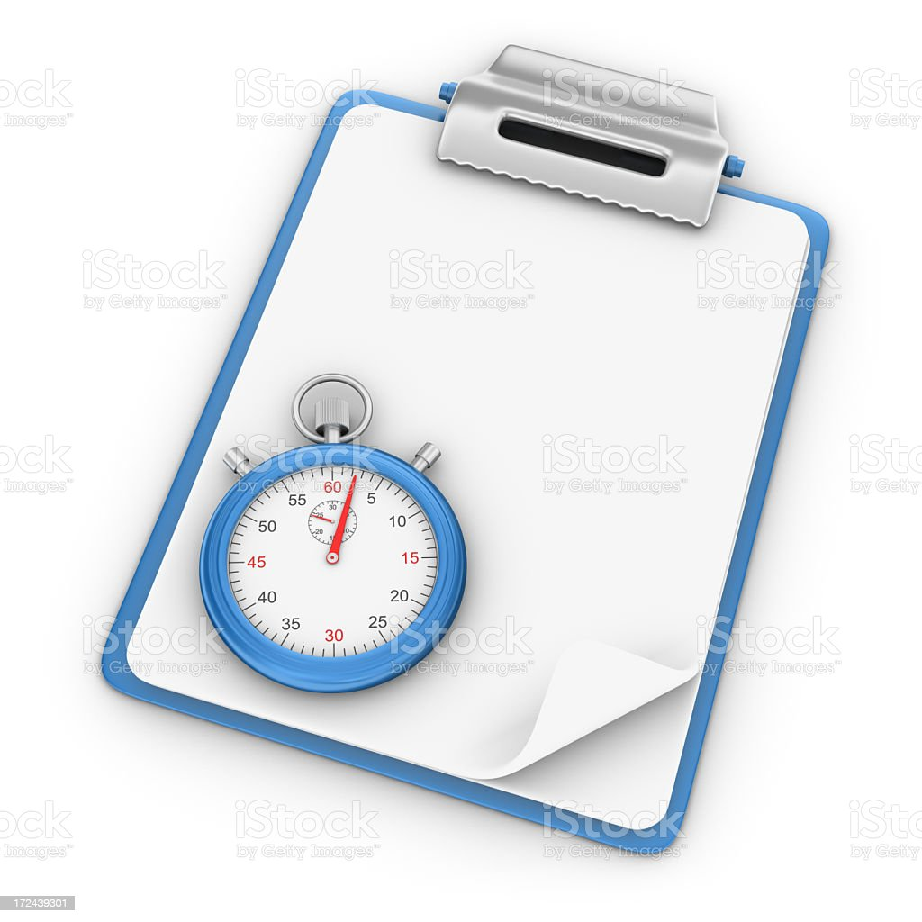 Blank Clipboard with Stopwatch royalty-free stock photo