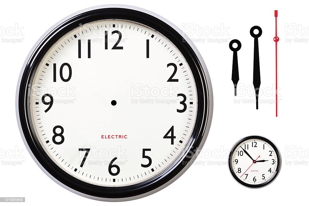 Blank clock face and hands royalty-free stock photo