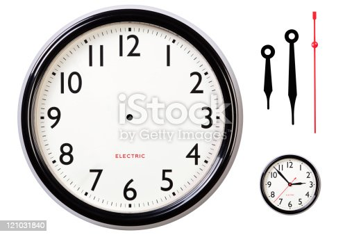 Photo of a blank electric clock face with arabic numerals plus hour, minute and second hands to make your own time, centre dot for hand placement and I've also included a small version of the original for guidance. Clipping path included for clock.