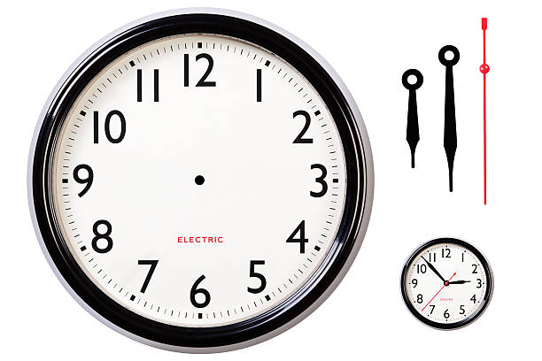 Blank clock face and hands stock photo