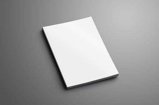Universal blank closed A4, (A5) brochure with soft realistic shadows isolated on gray background. Template can be used for your design.