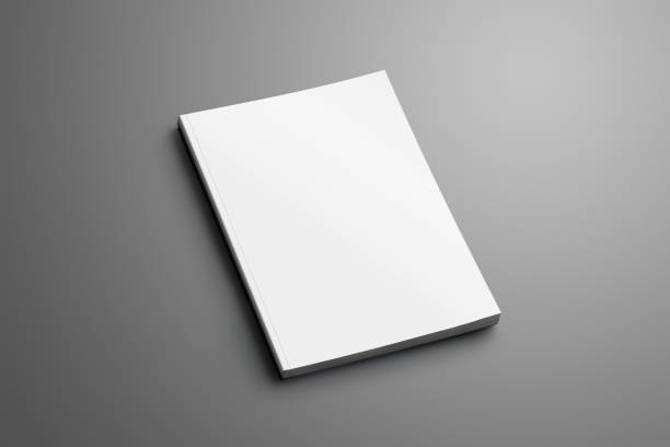 Blank closed A4, (A5) brochure with soft realistic shadows isolated on gray background. stock photo