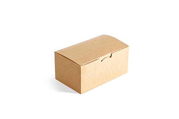 Blank closed craft box mockup, side view stock photo