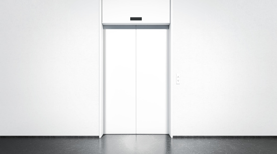 Blank closed elevator with button mock up, front view