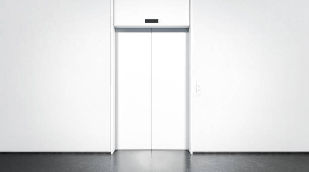 blank closed elevator with button mock up, front view - ascensore foto e immagini stock