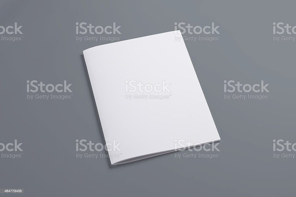 Blank closed magazine isolated on grey stock photo