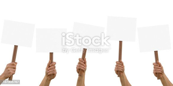 blank placards,with clipping path.
