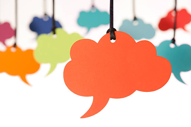 blank cloud shaped speech bubbles - thought bubble stock photos and pictures