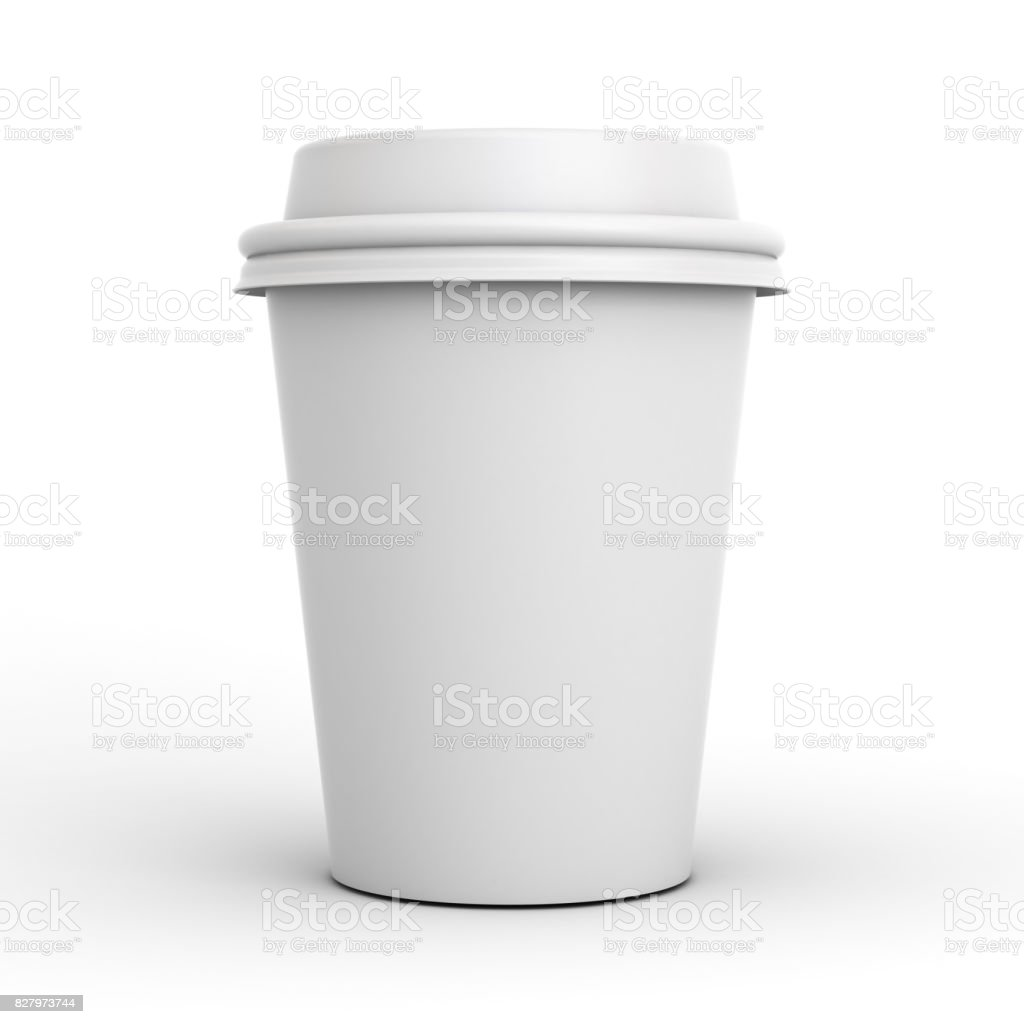 Blank coffee cup isolated on white background with shadow . 3D render stock photo