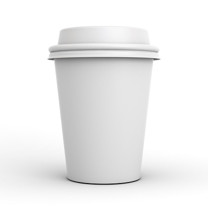 Blank Coffee Cup Isolated On White Background With Shadow 3d Render Stock Photo - Download Image Now