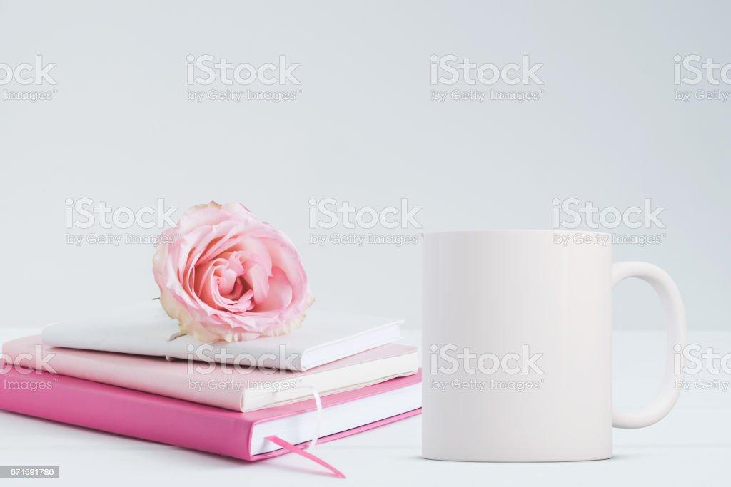 Blank coffee mug mockup stock photo