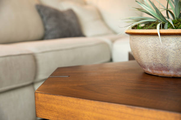 Blank Coffee Table for Product in a Living Room stock photo