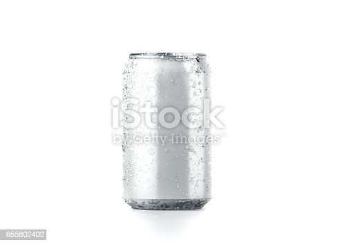 istock Blank cold aluminium beer can mockup with drops, 330 ml 655802402
