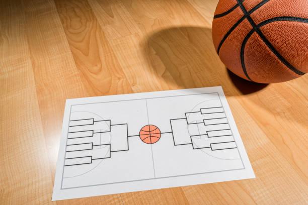 support de tournoi de basketball collège vide sur papier - ncaa photos et images de collection