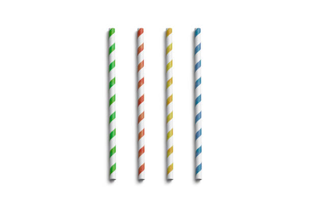 Blank colored paper straws mockup isolated, top view Blank colored paper straws mockup isolated, top view, 3d rendering. Clear coloured tubes mock up. Empty cardboard drink pipe for juice and water. Empty disposable eco-friendly soloma for restaurant. drinking straw stock pictures, royalty-free photos & images