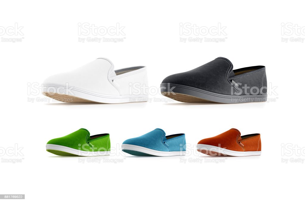 Blank colored slip-on shoes mockup, isolated stock photo
