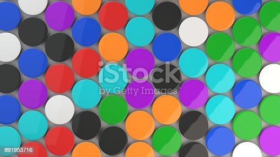 896667624 istock photo Blank colorful badges on white background 891953716