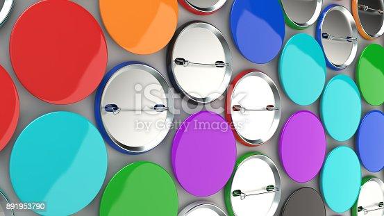 896667624 istock photo Blank colorful badges on white background 891953790
