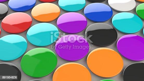 896667624 istock photo Blank colorful badges on white background 891954826