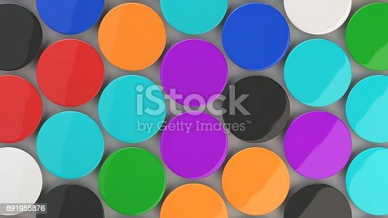 896667624 istock photo Blank colorful badges on white background 891955876