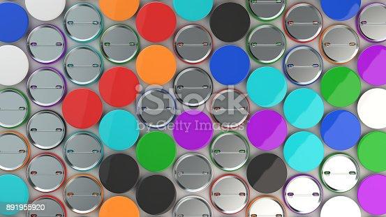 896667624 istock photo Blank colorful badges on white background 891955920