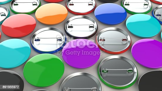 896667624 istock photo Blank colorful badges on white background 891955972