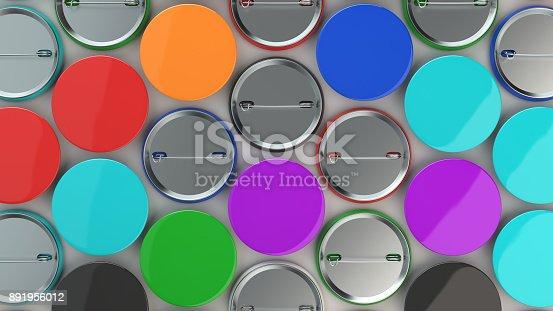 896667624 istock photo Blank colorful badges on white background 891956012
