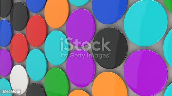 896667624 istock photo Blank colorful badges on white background 891956048