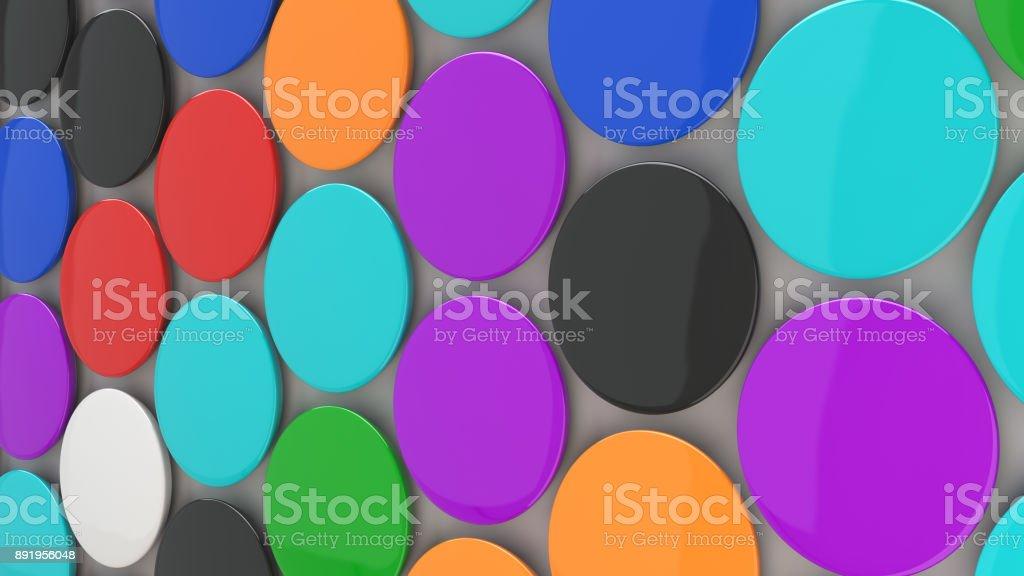 Blank colorful badges on white background stock photo