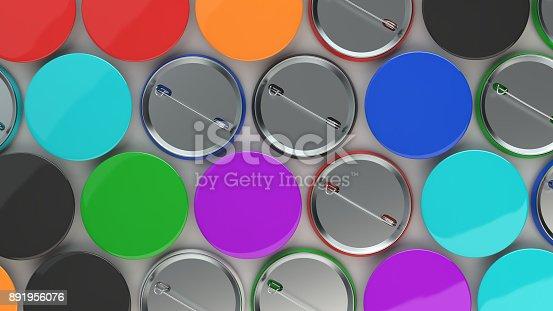 896667624 istock photo Blank colorful badges on white background 891956076