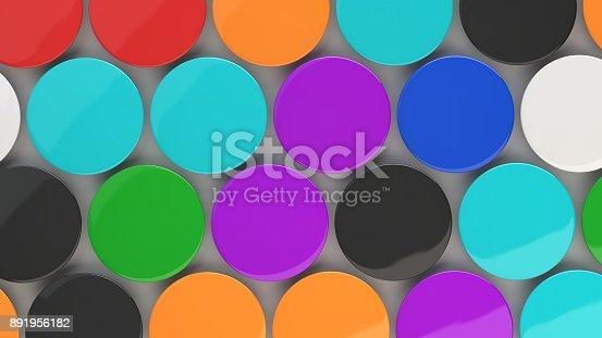 896667624 istock photo Blank colorful badges on white background 891956182