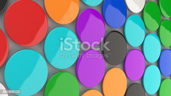 896667624 istock photo Blank colorful badges on white background 891956220