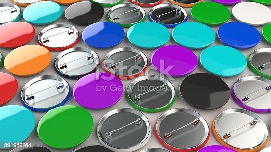 896667624 istock photo Blank colorful badges on white background 891956254